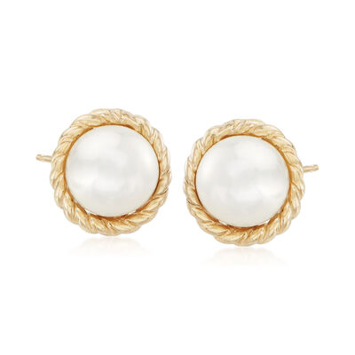 "Phillip Gavriel ""Italian Cable"" 5.5mm Cultured Pearl Earrings in 14kt Yellow Gold, , default"