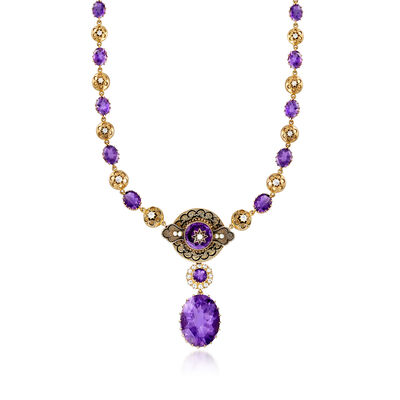 C. 1940 Vintage Cultured Pearl and 49.50 ct. t.w. Amethyst Necklace with 1.55 ct. t.w. Diamond in 14kt Yellow Gold