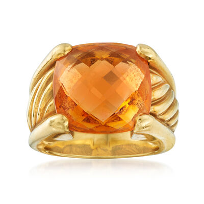 C. 1990 Vintage David Yurman 7.00 Carat Citrine Ring in 18kt Yellow Gold, , default