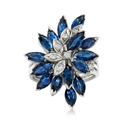C. 1970 Vintage 3.75 ct. t.w. Sapphire and .15 ct. t.w. Diamond Cluster Ring in 14kt White Gold, , default