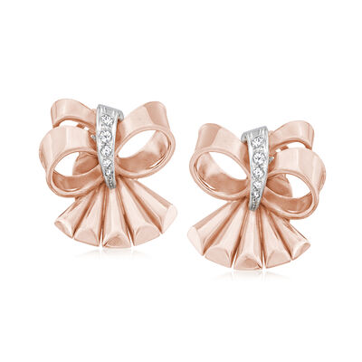 C. 1950 Vintage .20 ct. t.w. Diamond Bow Clip-On Earrings in 18kt Two-Tone Gold