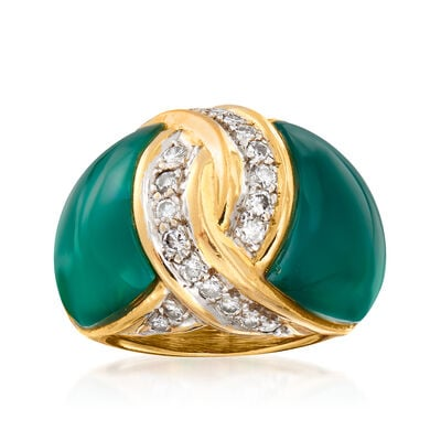 C. 1980 Vintage Green Chalcedony and .55 ct. t.w. Diamond Ring in 18kt Yellow Gold
