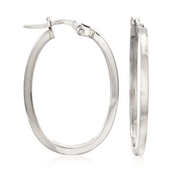 Roberto Coin Oval Hoops in 18-Karat White Gold, , default