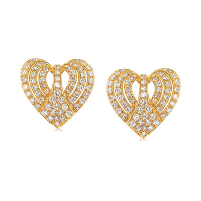 C. 1980 Vintage 3.00 ct. t.w. Diamond Heart Earrings in 18kt Yellow Gold , , default