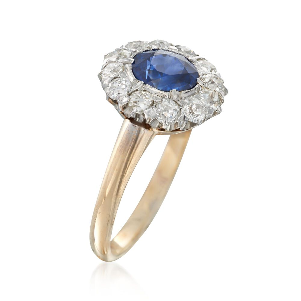 dfb34338a7915 C. 1900 Vintage 1.30 Carat Sapphire and 1.20 ct. t.w. Diamond Ring in  Platinum and 14kt Yellow Gold. Size 5.5