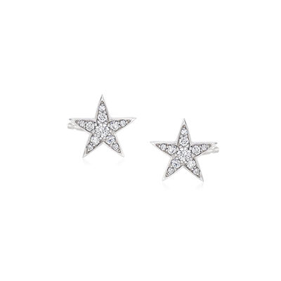 Roberto Coin .55 ct. t.w. Diamond Star Earrings in 18kt White Gold