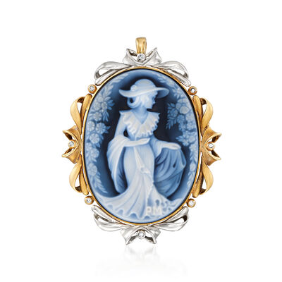 C. 1980 Vintage Blue Agate and .10 ct. t.w. Diamond Cameo Pin Pendant in 18kt Yellow Gold and Platinum