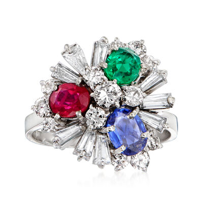 C. 1980 Vintage 1.25 ct. t.w. Diamond and 2.55 ct. t.w. Multi-Gem Cluster Ring in 18kt White Gold