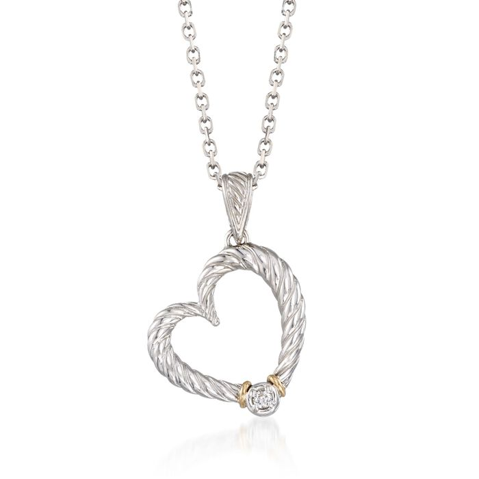 "Phillip Gavriel ""Italian Cable"" Diamond-Accented Heart Pendant Necklace in Sterling Silver and 18kt Gold"