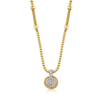 "ALOR ""Chain Reaction"" .19 ct. t.w. Diamond Yellow Stainless Steel Pendant Necklace with 18kt White Gold"