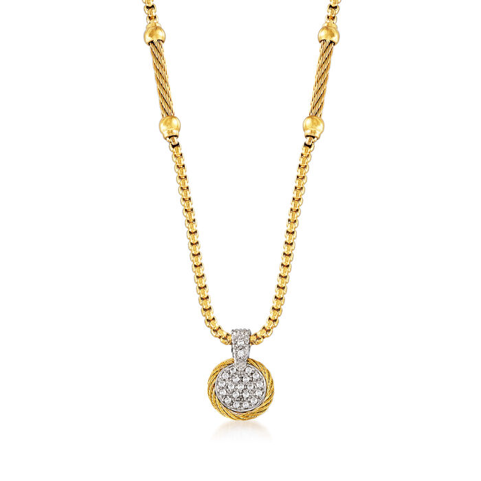 """ALOR """"Chain Reaction"""" .19 ct. t.w. Diamond Yellow Stainless Steel Pendant Necklace with 18kt White Gold"""