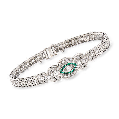C. 1950 Vintage 2.00 ct. t.w. Diamond and .20 ct. t.w. Simulated Emerald Bracelet in Platinum, , default
