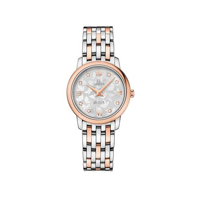 Omega De Ville Prestige Butterfly Women's 27.4mm Stainless Steel and 18kt Rose Gold Watch with Diamonds