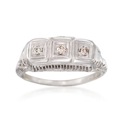 C. 1950 Vintage .10 ct. t.w. Diamond Filigree Ring in 14kt White Gold, , default