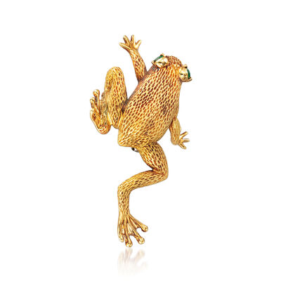 C. 1970 Vintage Henry Dunay .15 ct. t.w. Emerald Frog Pin in 18kt Yellow Gold