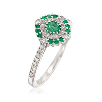 Gregg Ruth .30 ct. t.w. Emerald and .33 ct. t.w. Diamond Ring in 18kt White Gold, , default