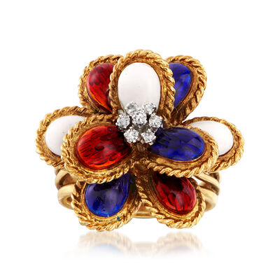 C. 1970 Vintage Multicolored Enamel Ring with Diamond Accents in 18kt Yellow Gold, , default