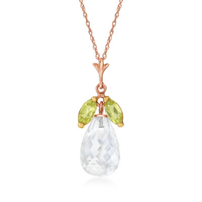 C. 1990 Vintage Rock Crystal and .40 ct. t.w. Peridot Pendant Necklace in 14kt Rose Gold