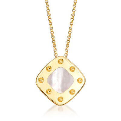"Roberto Coin ""Pois Moi"" Mother-Of-Pearl Square Necklace in 18kt Yellow Gold, , default"