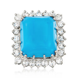 C. 1980 Vintage 14.5x12.5mm Turquoise and 1.25 ct. t.w. Diamond Ring in Platinum, , default