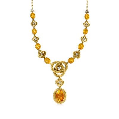 C. 1940 Vintage 36.50 ct. t.w. Citrine and 1.15 ct. t.w. Diamond Drop Necklace in 18kt Yellow Gold