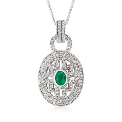 C. 1990 Vintage .75 Carat Emerald and 1.25 ct. t.w. Diamond Pendant Necklace in 14kt White Gold