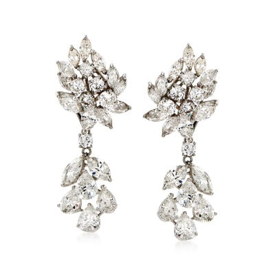C. 1970 Vintage 15.50 ct. t.w. Diamond Drop Earrings in Platinum, , default