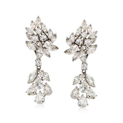 C. 1970 Vintage 15.50 ct. t.w. Diamond Drop Earrings in Platinum