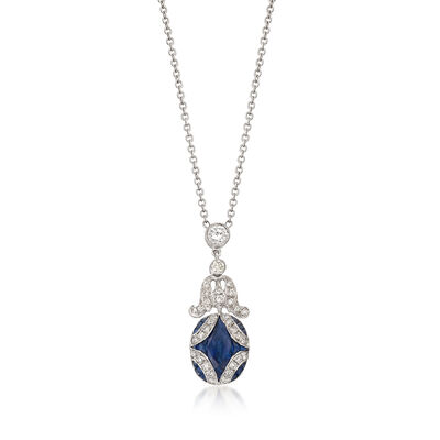 C. 2000 Vintage 1.50 ct. t.w. Sapphire and .65 ct. t.w. Diamond Drop Necklace in 18kt White Gold, , default
