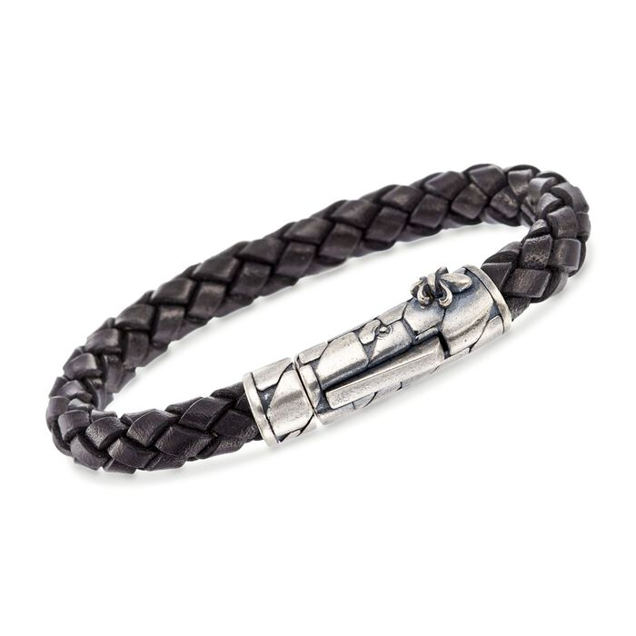 "Phillip Gavriel ""Woven Silver"" Men's Black Leather Bracelet in Sterling Silver. 8"", , default"
