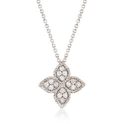 "Roberto Coin ""Princess Flower"" .38 ct. t.w. Black and White Diamond Flower Pendant Necklace in 18kt White Gold, , default"