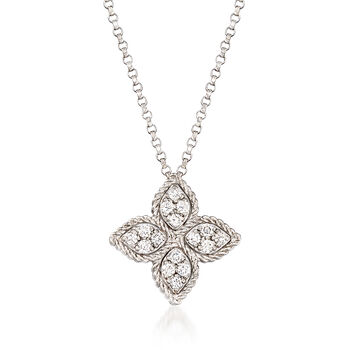 """Roberto Coin """"Princess Flower"""" .38 ct. t.w. Black and White Diamond Flower Pendant Necklace in 18kt White Gold. 18"""", , default"""