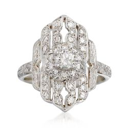 C. 1980 Vintage .65 ct. t.w. Diamond Dinner Ring in 18kt White Gold, , default