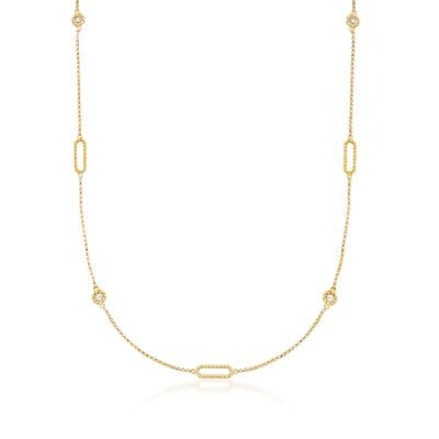 "Roberto Coin ""Barocco"" .19 ct. t.w. Diamond Station Necklace in 18kt Yellow Gold, , default"