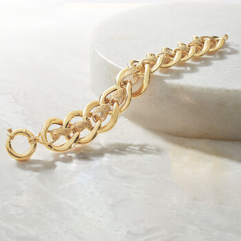 "Italian 14kt Yellow Gold Double-Link Bracelet. 7.75"", , default"