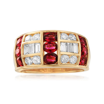 C. 1980 Vintage 2.07 ct. t.w. Ruby and 1.00 ct. t.w. Diamond Ring in 18kt Yellow Gold, , default