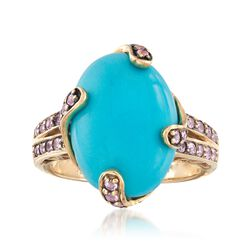 C. 2000 Vintage Turquoise and .55 ct. t.w. Morganite Ring in 14kt Yellow Gold, , default