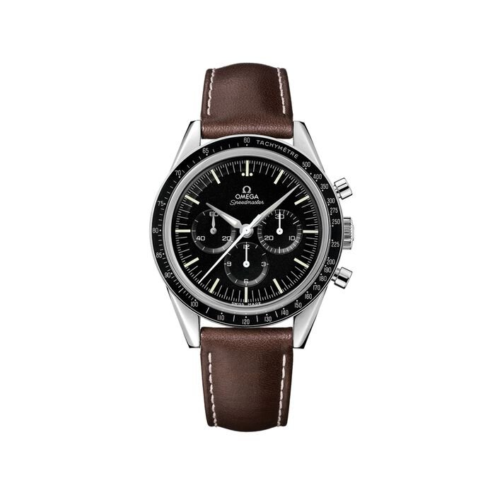 Omega Speedmaster 1962 Moonwatch Men's 39.7mm Mechanical Chronograph Stainless Steel Watch with Brown Leather