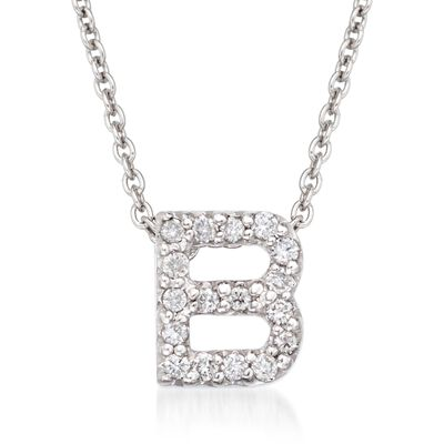 "Roberto Coin ""Love Letter"" Diamond Accent Initial ""B"" Necklace in 18kt White Gold, , default"