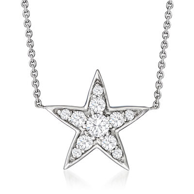Roberto Coin .26 ct. t.w. Diamond Star Necklace in 18kt White Gold