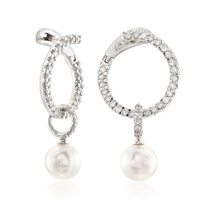 "Mikimoto ""Classic"" .45 ct. t.w. Diamond and 7mm A+ Akoya Pearl Open Swirl Drop Earrings in 18kt White Gold"
