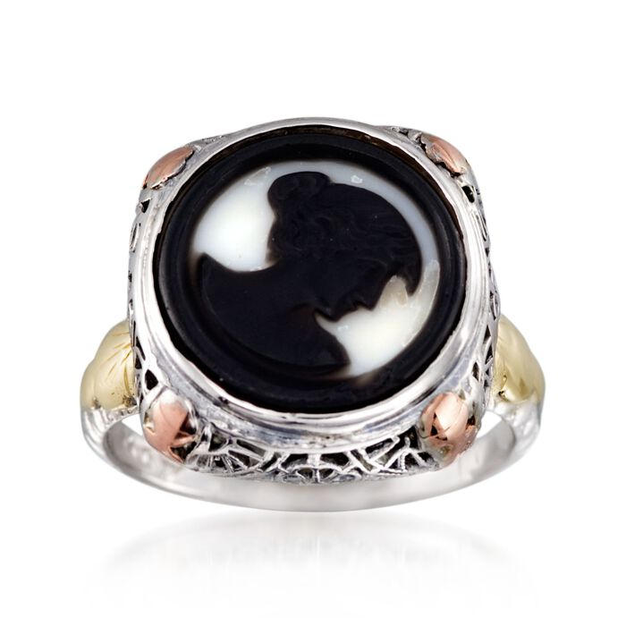 C. 1950 Vintage Black Agate Cameo Ring in 14kt Tri-Colored Gold. Size 5.75, , default