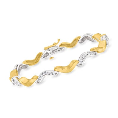 C. 1980 Vintage 1.25 ct. t.w. Diamond Curved Link Bracelet in 14kt Two-Tone Gold