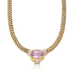 C. 1980 Vintage 35.80 Carat Pink Kunzite and .75 ct. t.w. Diamond Byzantine Necklace in 14kt Yellow Gold, , default