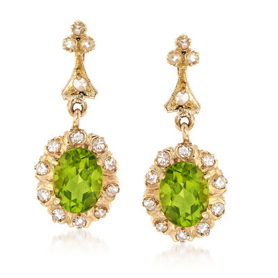 C. 1990 Vintage 3.68 ct. t.w. Peridot and .65 ct. t.w. Diamond Drop Earrings in 14kt Yellow Gold, , default