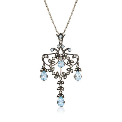 C. 1970 Vintage 3.05 ct. t.w. Sky Blue Topaz and .20 ct. t.w. Diamond Chandelier Drop Necklace with Seed Pearls in Sterling Silver and 10kt White Gold