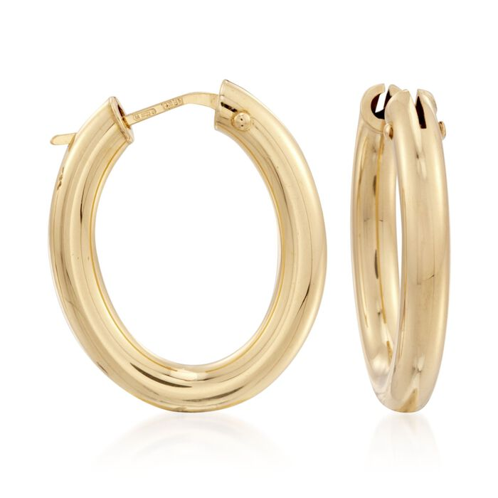 Roberto Coin Medium Oval Hoops in 18-Karat Yellow Gold, , default