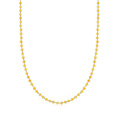 C. 1990 Vintage Roberta Porrati 12.00 ct. t.w. Yellow Sapphire Beaded Necklace in 18kt Yellow Gold
