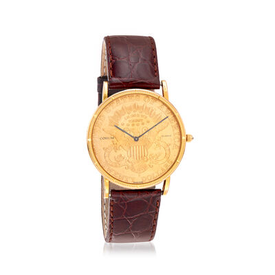 C. 1980 Vintage Corum 35mm Coin Watch in 18kt and 22kt Yellow Gold