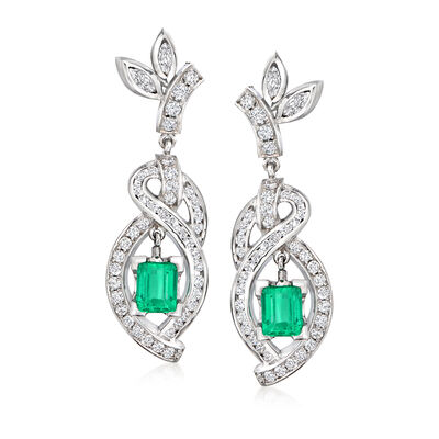 C. 1980 Vintage 2.65 ct. t.w. Diamond and 2.40 ct. t.w. Emerald Trellis Drop Earrings in 14kt White Gold